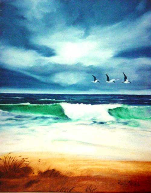 Beach  (Três gaivotas sobre o mar)
