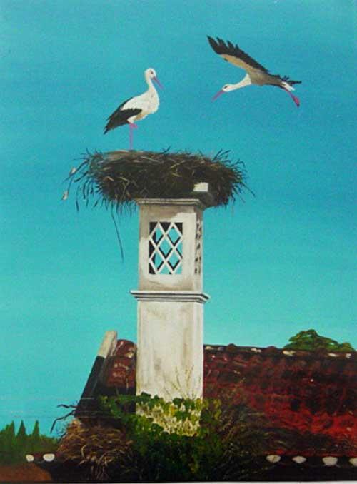 Storks on chimne